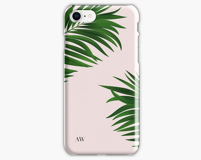 Monogrammed Green Palm Tree iPhone 8 case, iPhone 8 plus case, personalised iPhone case, pink iPhone case, all iPhone case models available