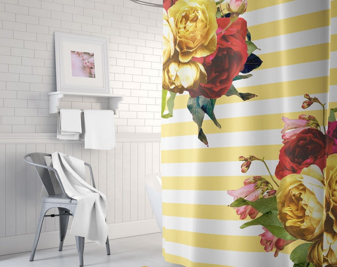 Floral Shower Curtain, Striped Bath Curtain, Boho Shower Curtain, Boho Bath Decor, Striped Bath Mat