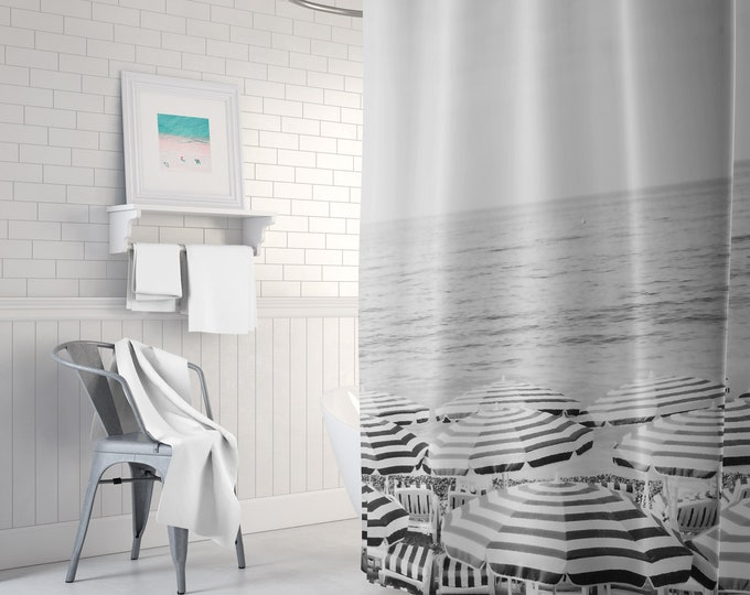 Black and White Beach Shower Curtain, Boho Shower Curtain, Black and White Bathroom Decor, Boho Decor