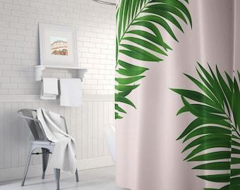 Botanical Leaf Shower Curtain Pink Long Green Bathroom Decor Bath Tub