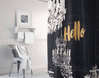 Black And Gold Shower Curtain Chandelier White Decor Gift For Her Bathroom