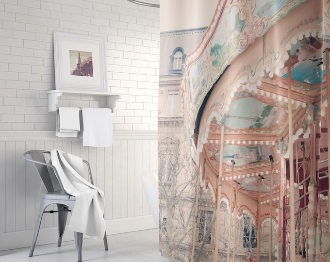 Paris Shower Curtain - Carousel Shower Curtain - French Decor