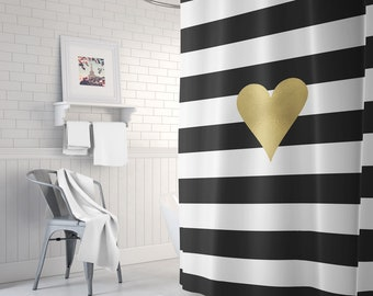 Black And Gold Shower Curtain Striped White Decor Gift For Her Bathroom
