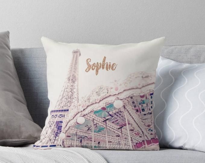 Personalized Dorm Decor, Paris pillow, Eiffel Tower pillow, Monogrammed pillow, Paris bedroom decor, French decor, Paris baby shower