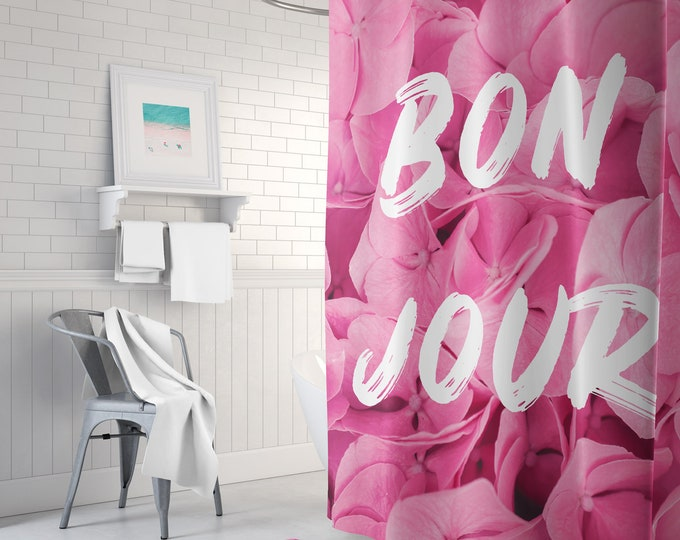 Pink Shower Curtain, Boho Shower Curtain, Boho Bath Decor, Bonjour Shower Curtain