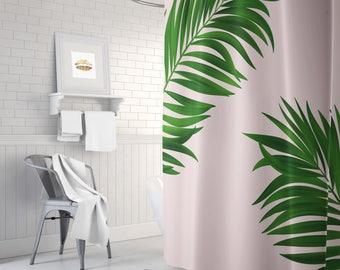 Green Palm Print Shower Curtain, Pink Shower Curtain, Long Shower Curtain, Green  Shower Curtain, Bathroom Decor, Bath Tub Curtain