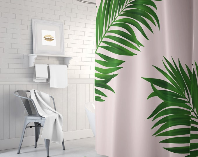 Tropical Shower Curtain - Palm Leaf Shower Curtain - Pink Fabric Shower Curtain