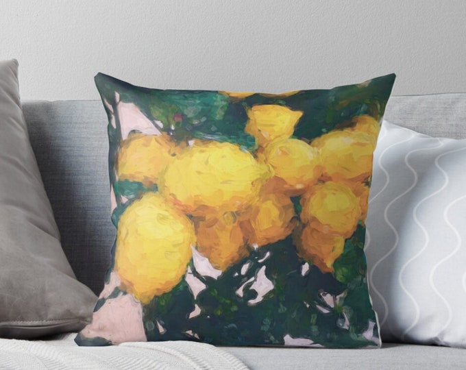Lemon Print Pillow - Citrus Pillow - Botanical Decor - Yellow Decor