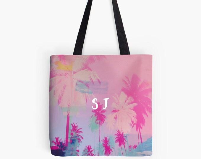 Palm Tree Tote Bag - Personalized bag - Bridesmaid gift - monogrammed bag, personalized gift