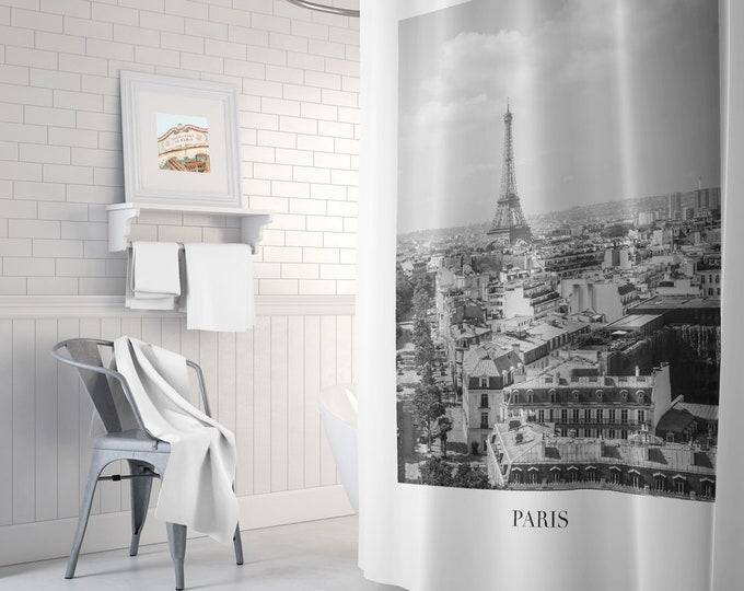 Paris Shower Curtain, Black and White Shower Curtain, bathroom decor, bath tub curtain