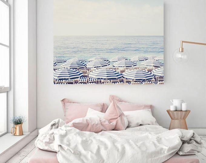Beach Umbrella Wall Print - Coastal Wall Art - French Riviera Photography Print - Beach Umbrella Photo