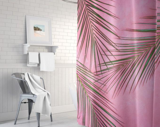 Palm print shower curtain, pink shower curtain, long shower curtain, green shower curtain, bathroom decor, bath tub curtain
