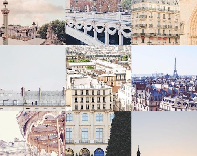 Paris print set - Paris prints - Eiffel Tower - Paris gallery wall