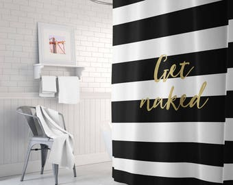 Black And Gold Shower Curtain Striped Bathroom