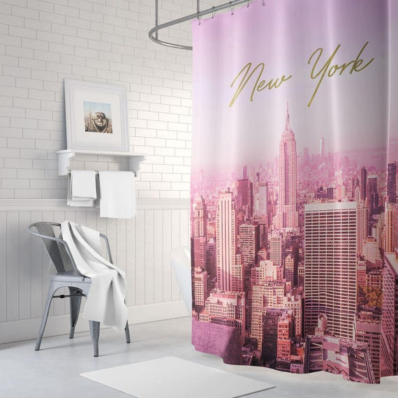 Pink And Gold New York Shower Curtain Bathroom Decor