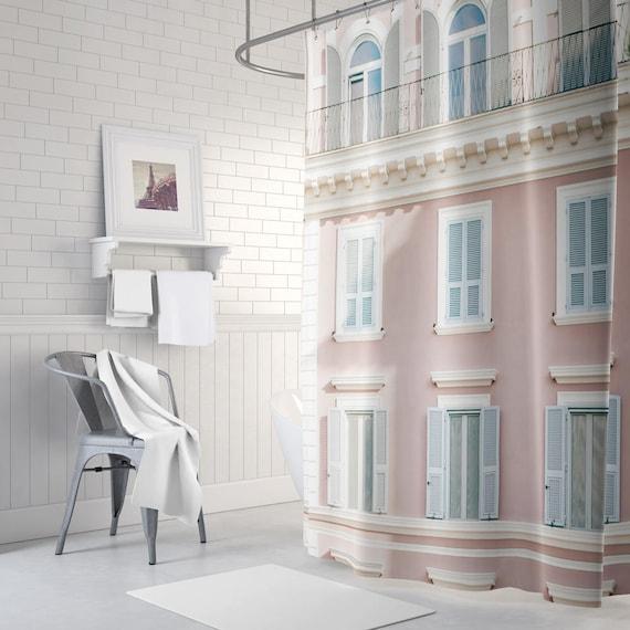 Pastel Shower Curtain Paris Themed Decor Pretty Bathroom
