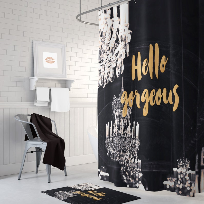 Black And Gold Shower Curtain Chandelier Bath Mat Bathroom