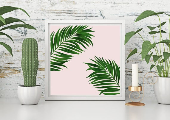 Pink palm tree print green wall decor pink decor large wall | Etsy