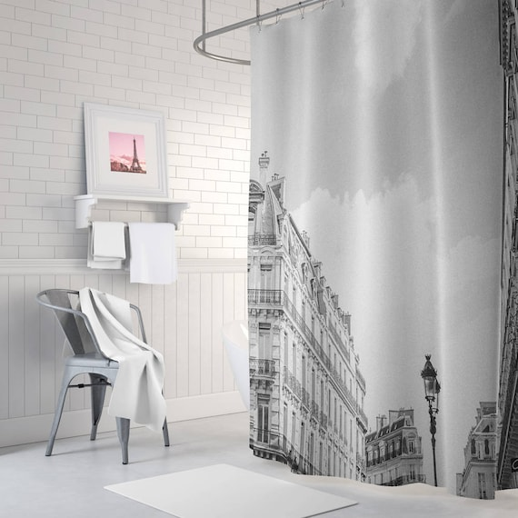 Paris Shower Curtain Bathroom Decor Black And White French