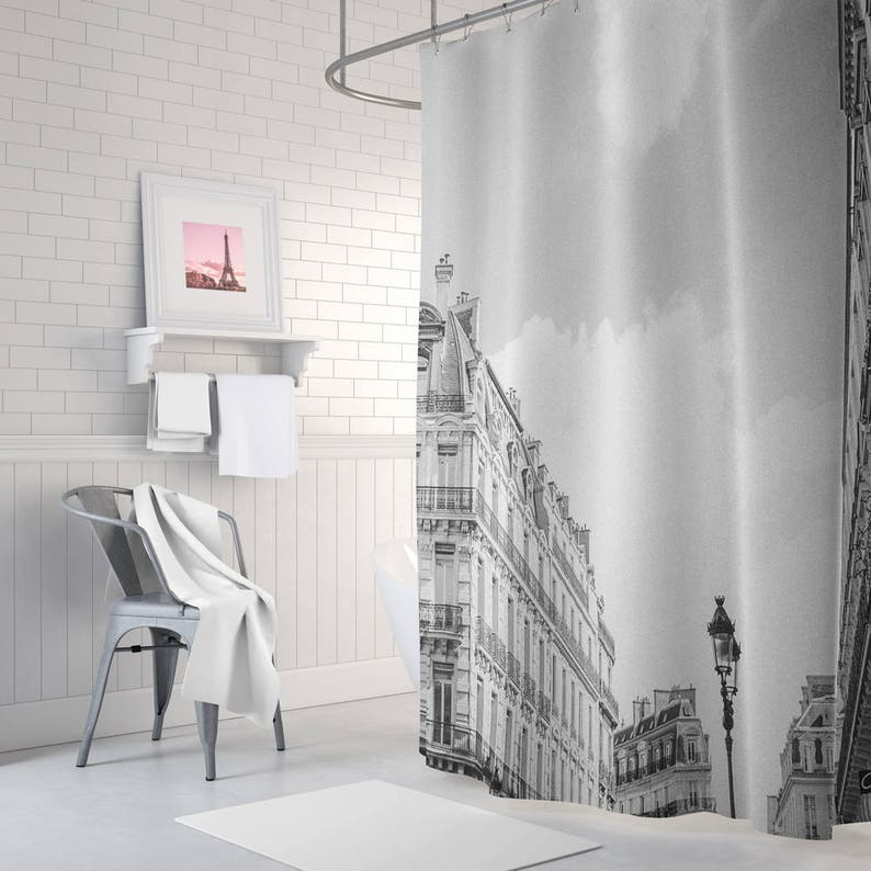 Paris Shower Curtain Bathroom Decor Black And White French Apartment Parisian Accessories