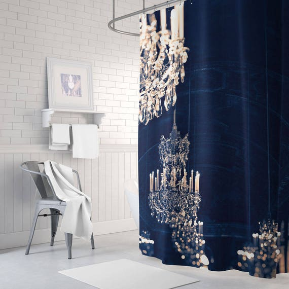 Chandelier Shower Curtain Gold Navy And