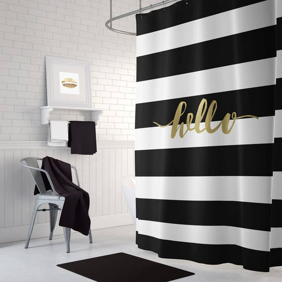 Gold Shower Curtain Hello Shower Curtain Black And White Etsy