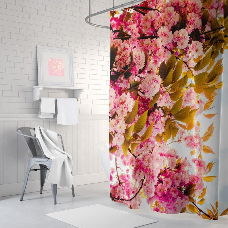 Pink Floral Shower Curtain Flowers Bathroom Decor Blue