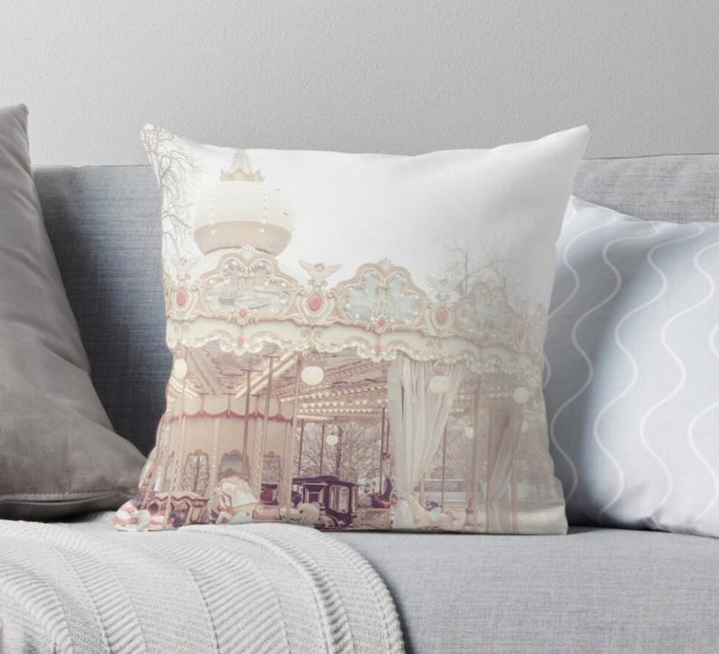 Her Nursery Decor Carousel Pillow, Merry Go Round Baby Bedding