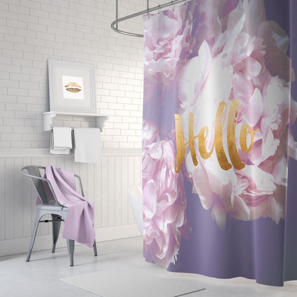 Gold Shower Curtain Purple Shower Curtain Floral Shower Etsy