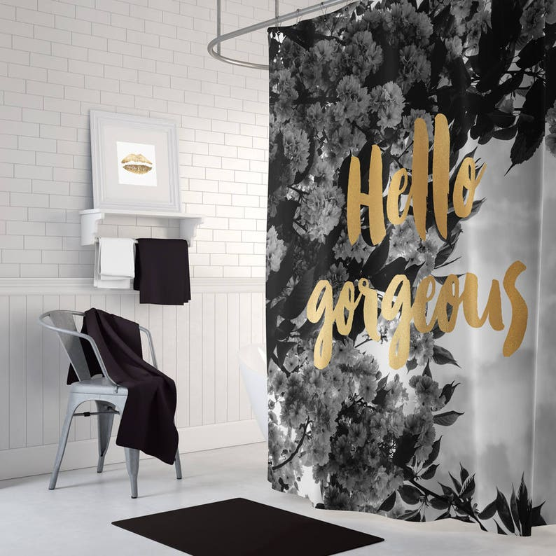 Gold Shower Curtain Black And White Decor Floral