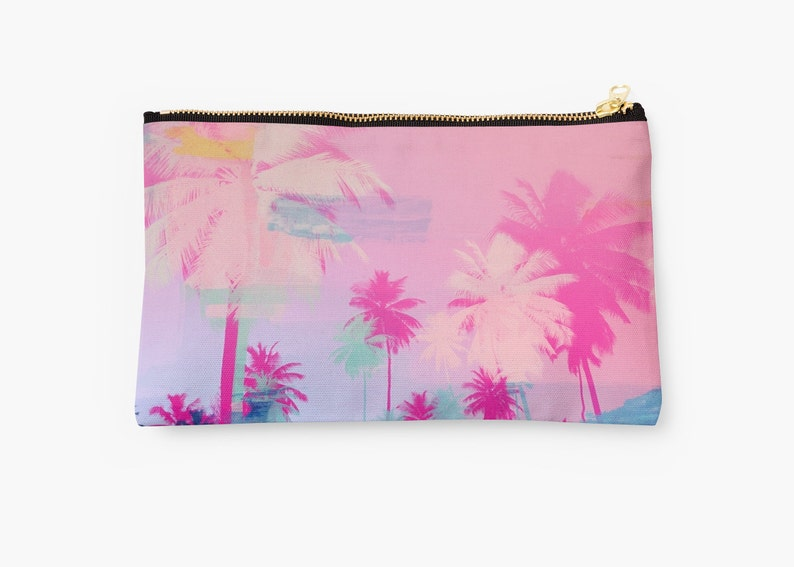 monogrammed clutch pink bag Customised clutch pouch pencil case gift for her makeup bag Palm tree bag
