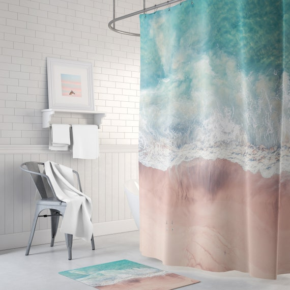 Beach Shower Curtain Blue Ocean