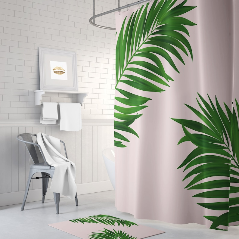 Green Palm Print Shower Curtain Pink Long
