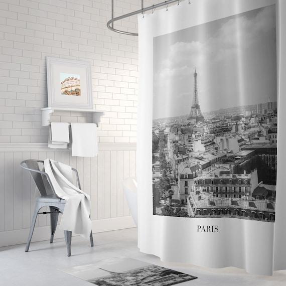 Paris Shower Curtain Black And White Bathroom