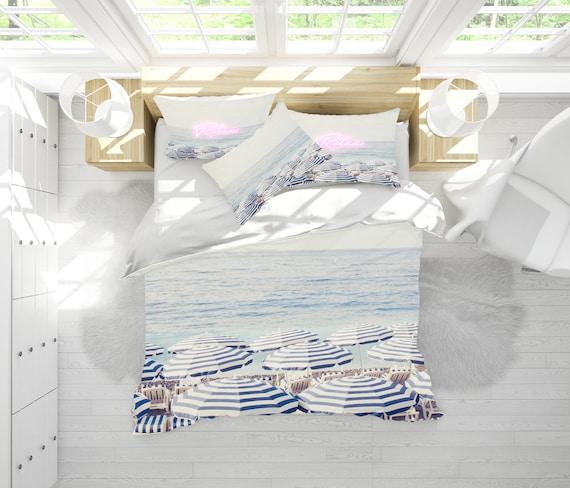 Beach print duvet cover, beach themed bedroom, blue and white duvet cover,  blue bedding, bedroom sets, French Riviera