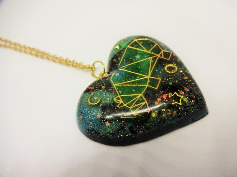 Geometric Galaxy Animal Heart Necklaces