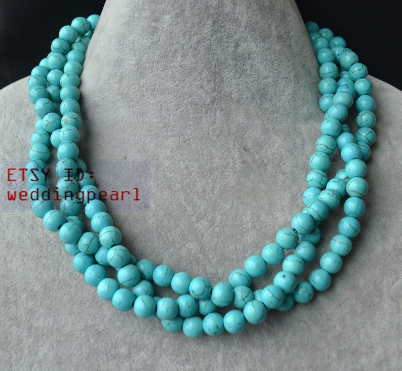turquoise necklace,triple strand 18 inch 8mm turquoise bead necklace,wedding necklace,statement necklace,twisted turquoise necklaces