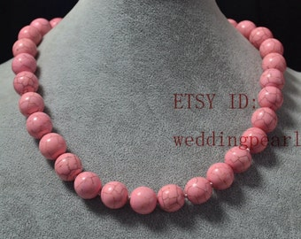 14mm pale pink turquoise necklace,man-made turquoise bead,wedding bridesmaid jewelry,statement necklace,large pale pink bead necklace