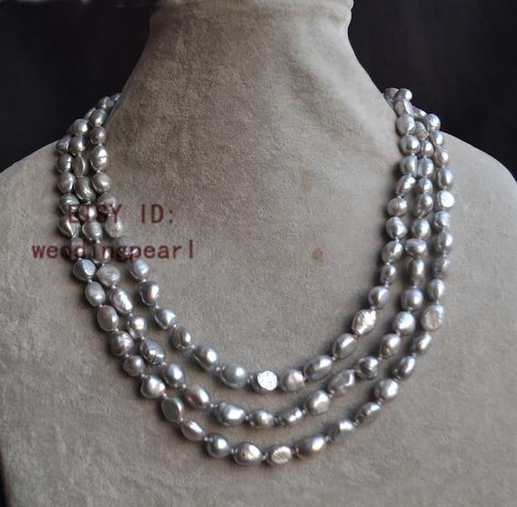 collares largos perlas gris collar de perlas collares de | Etsy