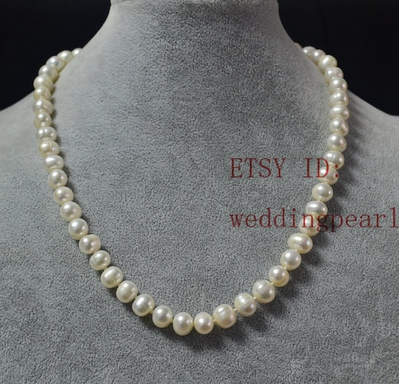 06dbee5de real pearl necklacesgenuine pearl necklaces8-8.5mm white image 0 ...