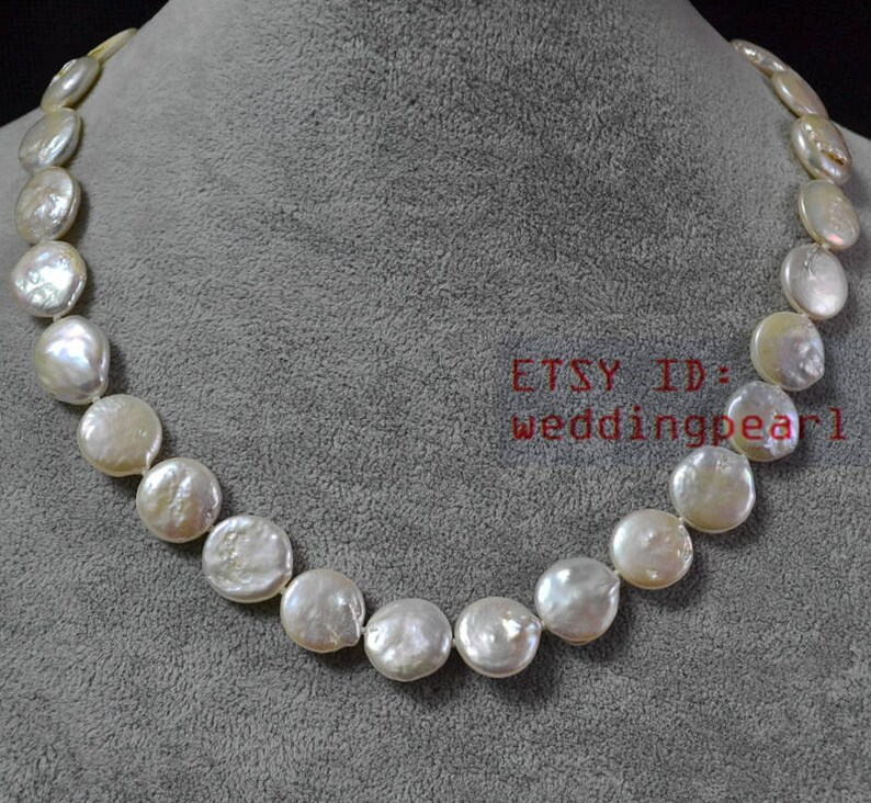 9b4618e9ad5c Collar de perlas marfil moneda 13-13.5 mm perla collar