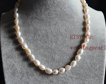 7-8mm white freshwater pearl necklace,single strand baroque pearl necklace,irregular shape, pearls, bridesmaids gift ,statement necklace