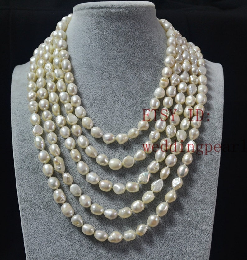 Bianco collana di perle collane lunghe perle collane di  0ac9d97ccc8e