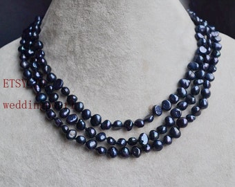 long black pearl necklace,wedding necklace, 48 inch 6-6.5mm black freshwater pearl necklace, jewelry,necklace,black baroque necklace