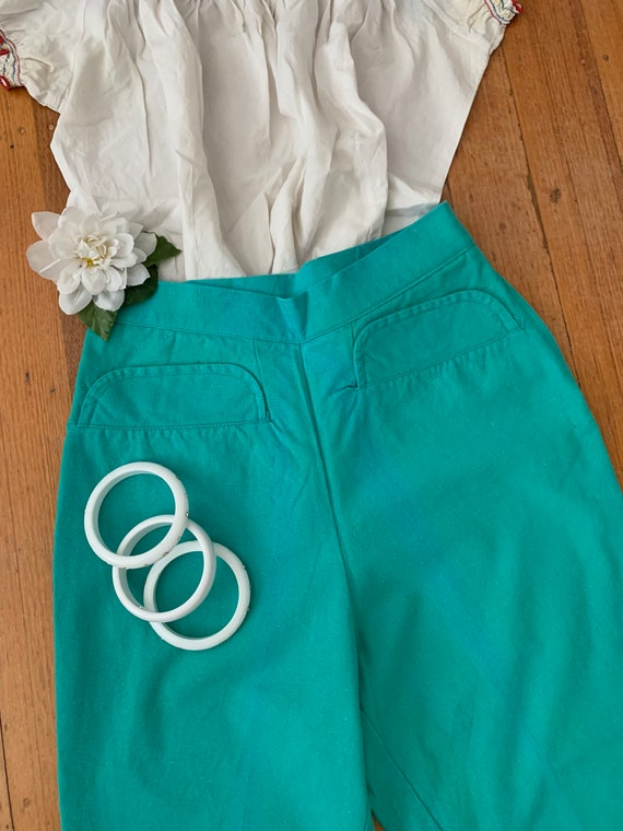 High Waisted Vintage 50's Green Pedal Pushers Size
