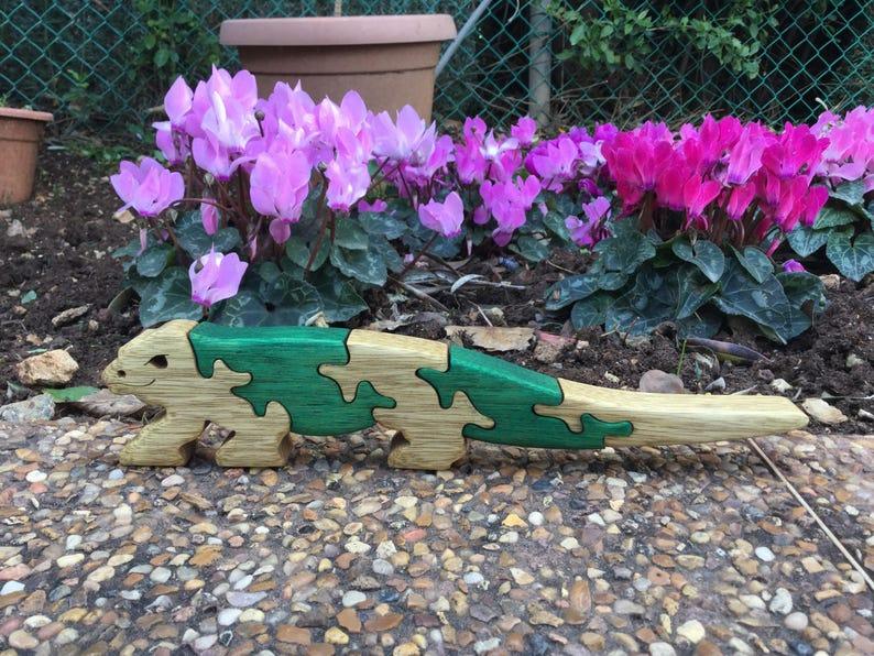 Puzzles. Komodo dragon Dragon Green animal Wooden toy Gift for kids Kids gift Wild animal Lizard puzzle Wooden toy Wooden puzzle