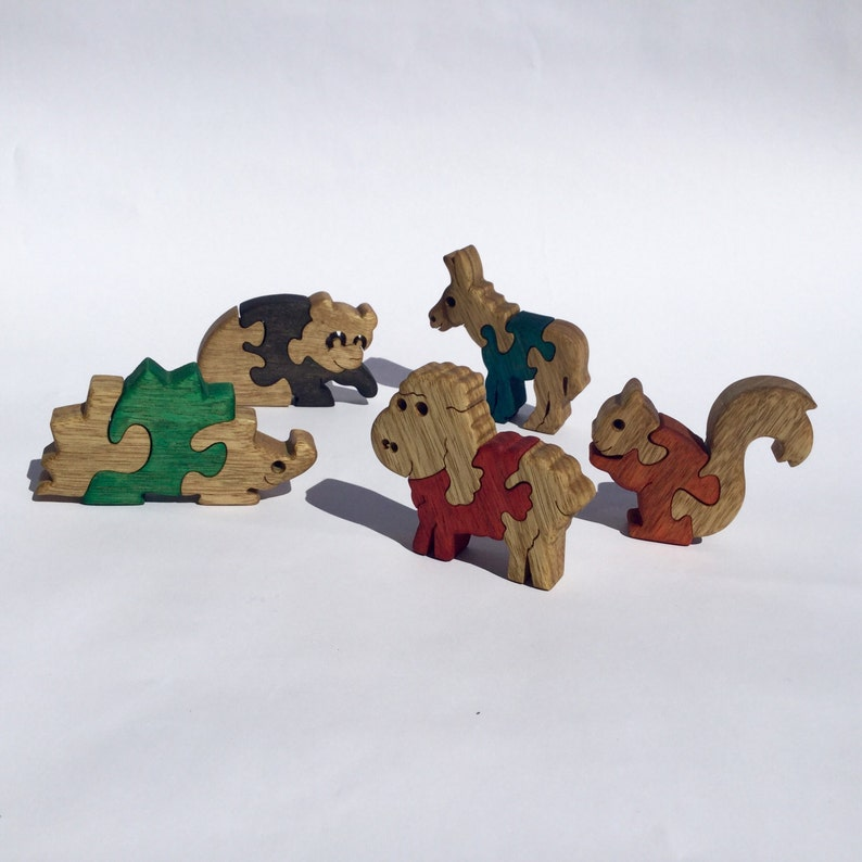 Wooden Toys Kids Gift 5 Baby Puzzles Donkey Squirrel Sheep Panda Hedgehog Wood Puzzle Animal Games Wooden Puzzles Gift For Kids
