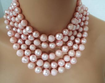 5 strand faux pink pearl necklace choker  wedding  1950s 1960s
