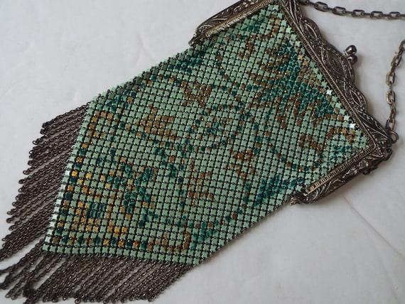 Art Nouveau multi color enamel mesh flapper purse… - image 4