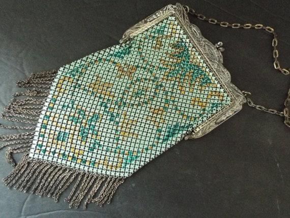 Art Nouveau multi color enamel mesh flapper purse… - image 1